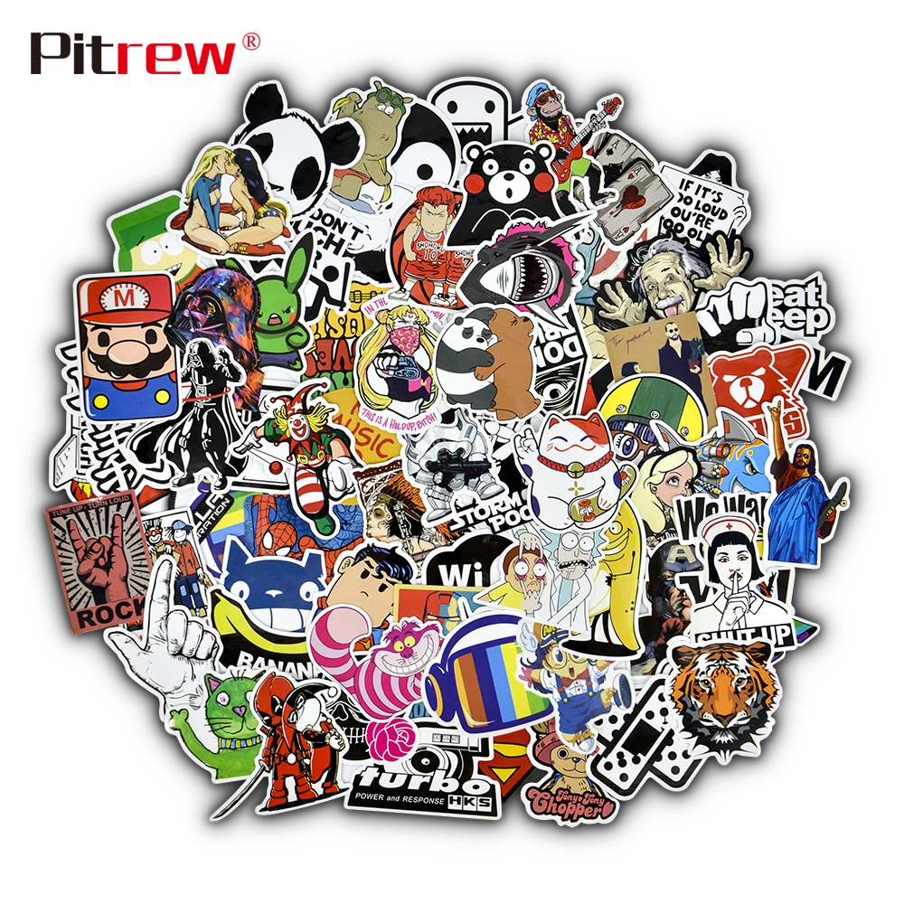 PITREW 50 PCS Funny Car Stickers on Motorcycle Suitcase Home Decor Phone Sticker Bomb