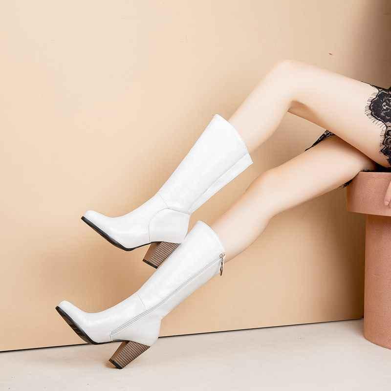 EGONERY mode knie-hohe stiefel frauen winter im freien motorrad stiefel western stiefel braun schwarz weiß 8 cm high heels frauen schuhe
