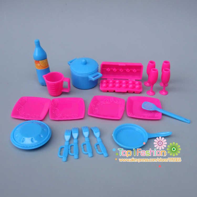 Nowy zastawa stołowa do kuchni lalki akcesoria dla barbie lalki/dla Monster high lalki zabawki dziewczyny do zabawy dla dzieci zabawki domowe