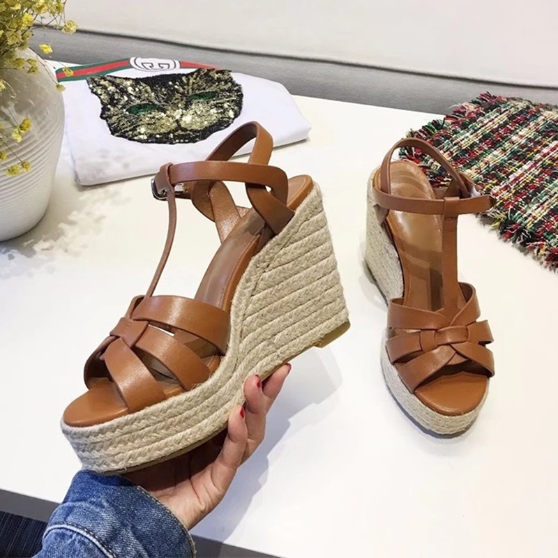 Brand Bohemian Women Sandals Ankle Strap Straw High Platform Wedges For Female Shoes High Heels Cover Heel Sandal Shoes J176