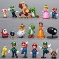 """18 unids/set Super Mario Bros1-2.5 """"figuras de Acción Juguetes Dinosaurio Yoshi Peach Toad Goomba PVC Muñeca"""