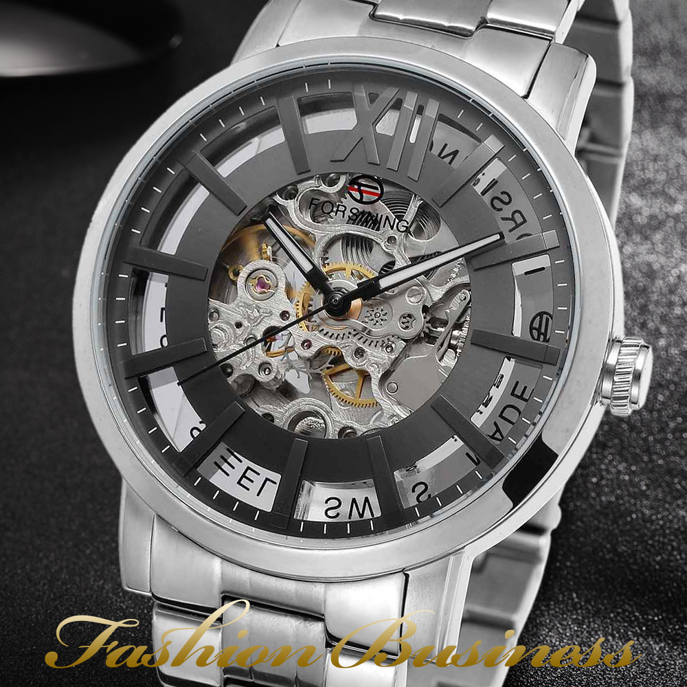 купить Forsining Brand Analog Automatic Watch Men Waterproof Casual Business Watch Men Steel Wristwatch по цене 5167.81 рублей