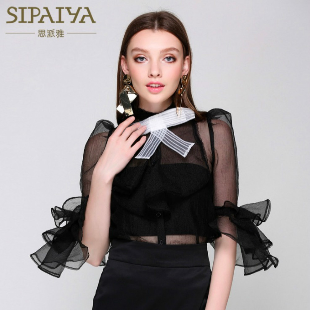 New Women Blouses 2018 Summer Runway Sexy See through Bow Designer Ruffles Cute Female Blouse Party