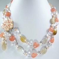 nobleste lady's fine mixed pearl & jadeS stone with flower pendant necklace