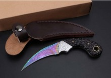 New Ebony Damascus karambit knife camping survival knives Blue titanium Damascus steel blade outdoor Tactical hunting EDC tool