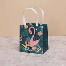 Купить с кэшбэком 5pcs Flamingo Unicorn Kraft Paper Gift Bag Wedding Decoration Clothes Paper Bag with Handle Party Favors Candy Bag Gift Package