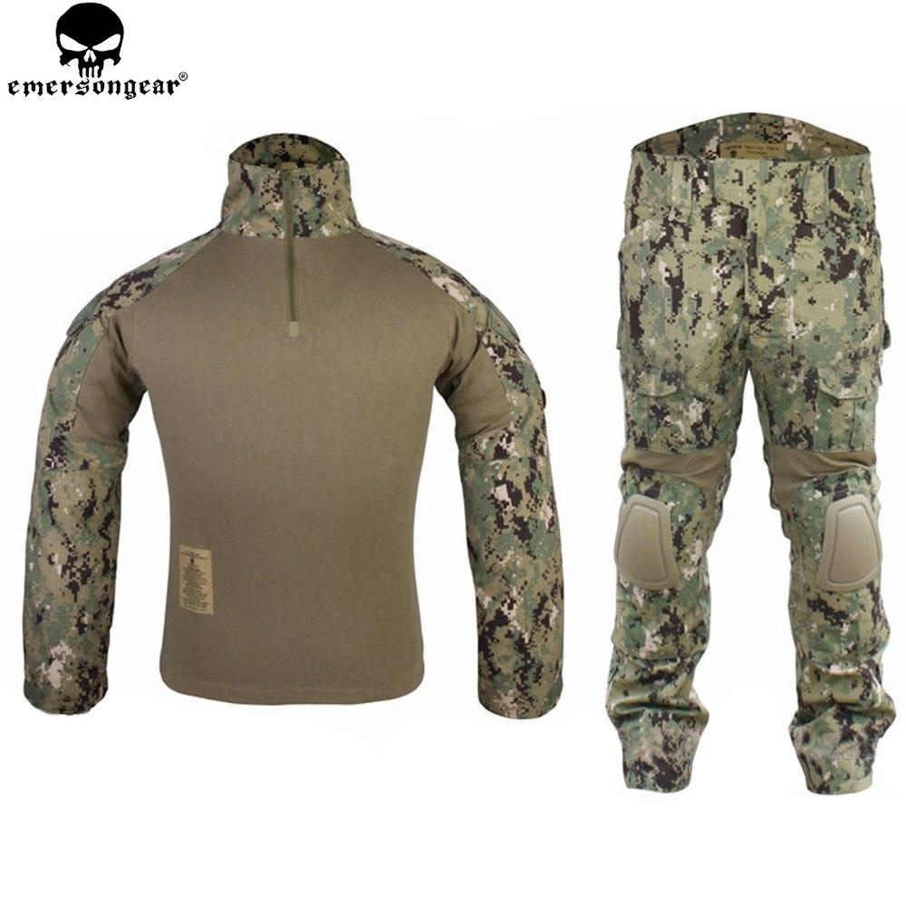 EMERSONGEAR Gen2 Vestito camicia di Combattimento Pantaloni con Ginocchiere Tattico di Caccia di Airsoft Paitball Uniforme AOR2 EM6924