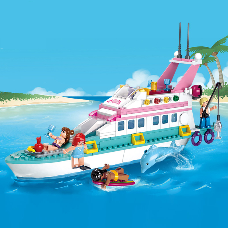 328Pcs Friends Girl Dolphin Cruiser Vessel Ship Building Blocks Toy Kit DIY Educational Children Compatible LegoNYing Gifts