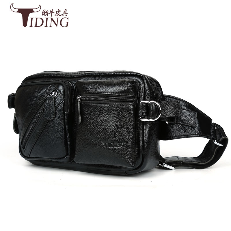 2017 men travel bags genuine leather bag men waist pack waist bag fanny pack waist belt bag Cow leather brand logo new multifunctional genuine leather waist pack for men women bags travel belt bag money pouch