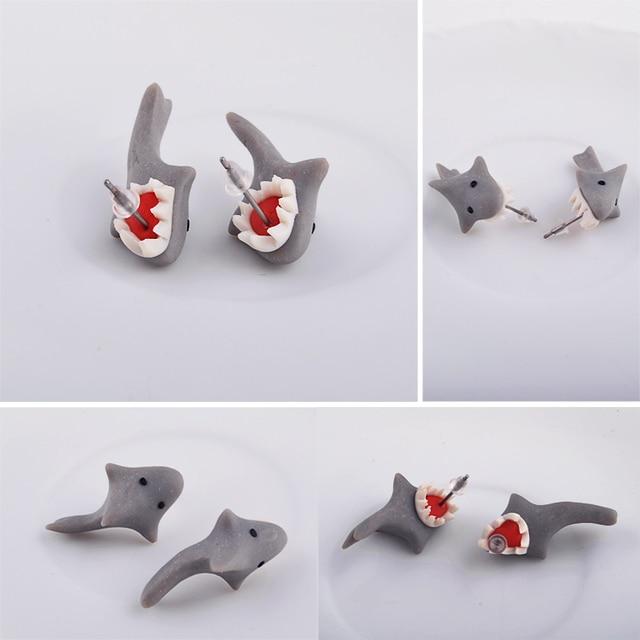 2e1f33100 New 100% Handmade Polymer Clay Cute Shark Earrings Ear Stud jewelry brincos  Free Ship x
