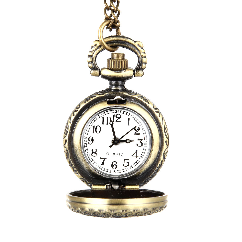 Fashion Women Vintage Quartz Pocket Watch Alloy Hollow Out Flowers Necklace Pendant Lady Girl Sweater Chain Clock Gifts
