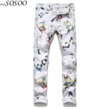 2019 Fashion Young man Slim Hand-painted Color Printing Design Pants Mens Male High Quality #5643