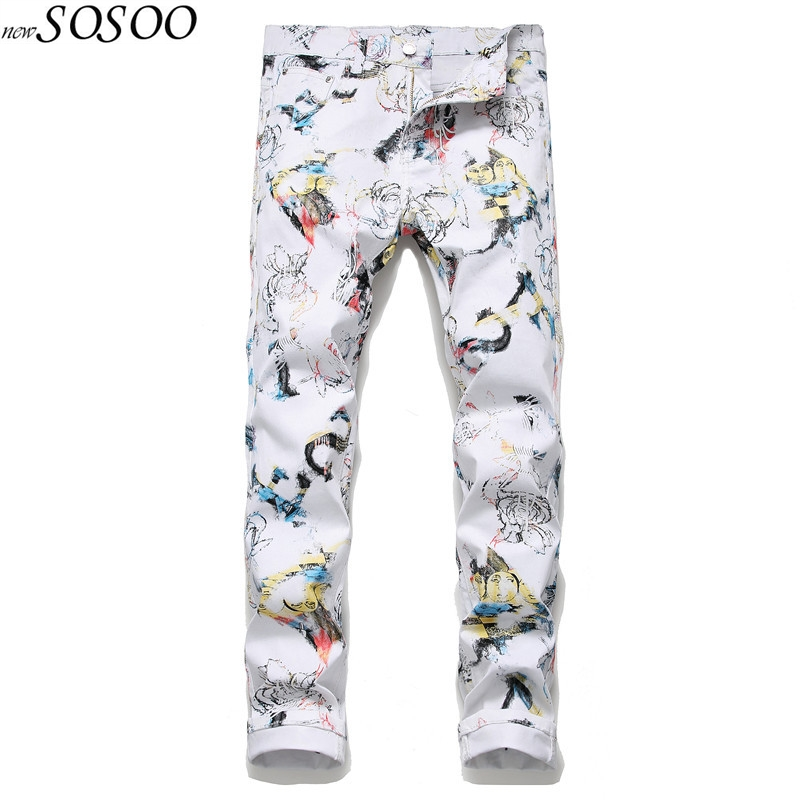 Jeans Men 2020 New Product Man Jeans Slim Hand-painted Color Printing Design Men's Male High Quality Pants  #5643