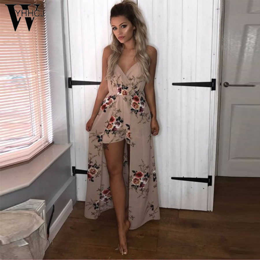 WYHHCJ 2018 Women Beach Sexy Print   jumpsuit   women Side split loose V Neck   jumpsuit   romper 6 colors summer playsuit 2018