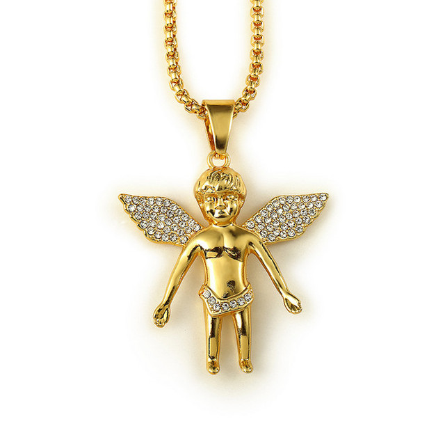 Fashion Micro Angel Piece Necklace 18k Real Gold Plating Hip Hop