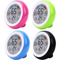 Cute Indoor Touch Screen Digital Thermometer Hygrometer Temperature Gauge Humidity Meter Clock Wall Max Min Value