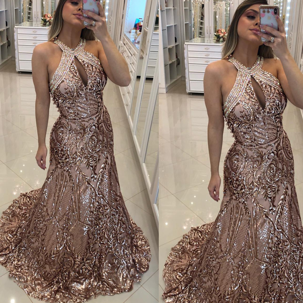 lace   prom     dresses   2020 champagne sequins keyhole mermaid court train champagne evening   dresses   sparkly evening gowns