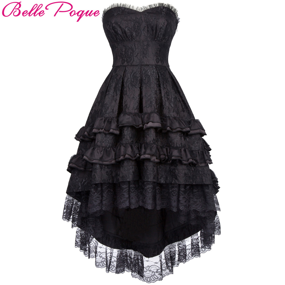 Belle Poque 2018 Gothic Victorian Dresses Women Summer Black Lace Sleeveless Strapless Ruffle Retro Vintage 50s Party Club Dress