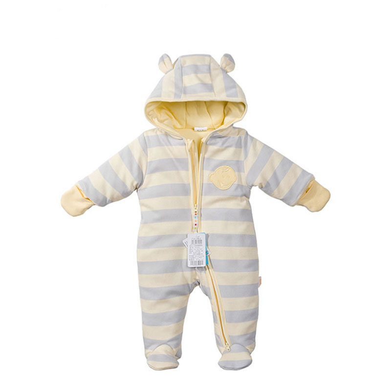 2017 100% Cotton Thick Romper for Newborns Baby Boy Autumn Winter Overalls Girls Clothing Infant Babies Jumpsuit Striped Clothes