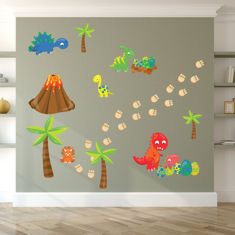 Cartoon Dinosaur And Egg Funny Wall Sticker For Kids Rooms Nursery Decoration PVC Removable Wallpaper Wall Art Decals Home Decor in Wall Stickers from Home Garden