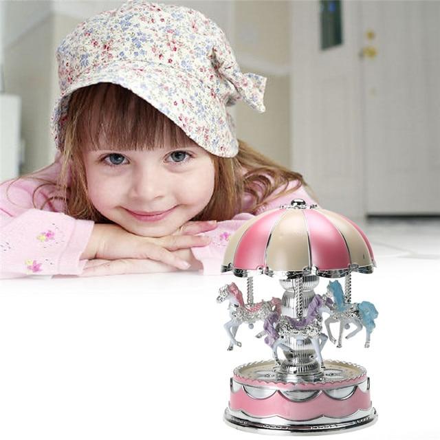 Random Color LED Light Merry-Go-Round Carousel Music Box Kids Children Girls Christmas Birthday Gift Toy Wedding Decoration