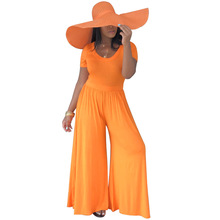 Adogirl short sleeve solid loose women jumpsuits wide leg bottoms rompers leisure street wear verano outfits