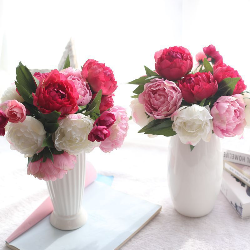2019 Pretty Artificial Silk Peony Flower Bouquet Holding Flower