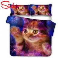 Sisher 3D Cat Duvets And Bedding Sets Duvet Lovely Bed Cover Set With Pillow Cases Single Twin Double Full Queen King