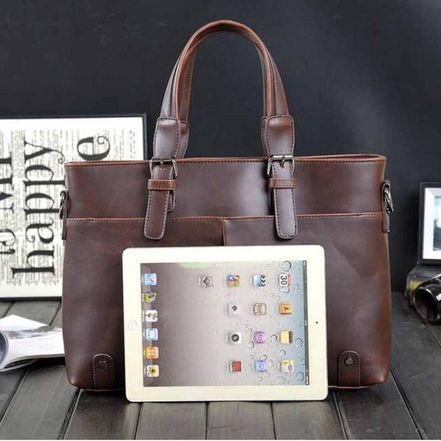 Men's business PU leather handbag briefcase famous brand sacoche homme messenger bags laptop tote bag