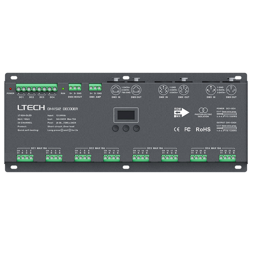 Led DMX512 Decoder Controller;24 Channel DMX Decoder DC12-24V;3A*24CH Max 72A output Led RGB Strip RGBW Ledstrip XLR-3/RJ45 Port 36ch dmx512 dimmer controller 36 channel dmx decoder 13group rgb output led dmx512 driver max 3a xrl 3pin controller led strip