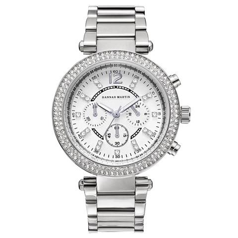 Relógio de Prata Hannah Martin Moda Feminina Pulseira Strass Senhoras Luxo Relógios Quartzo Pulso Relógio Feminino