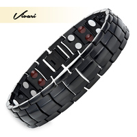 Vivari 2017 Men 4in1 Joyas Stainless Steel Bracelet 44pcs Magnets Ve Ions Germanium Infra Red Gold