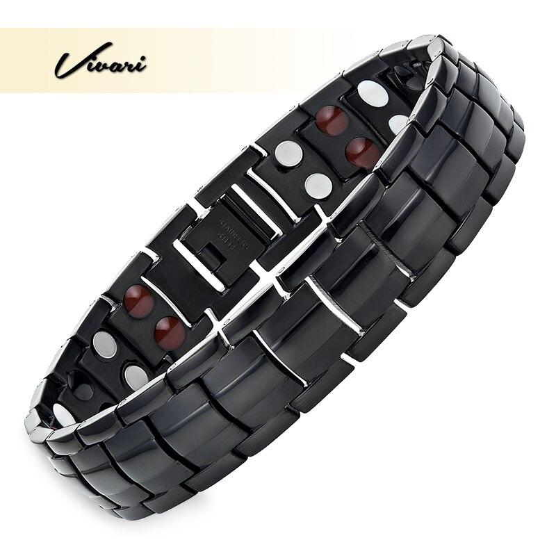 Vivari Trendy Magnetic Black Bracelets Men 4in1 Stainless Steel Solid Germanium Ion Infra Red Bracelet Femme Wristband
