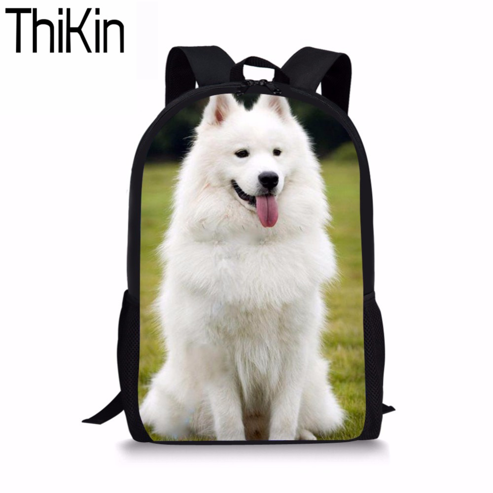 THIKIN Backpack for Girls 3D Schnauzer Husky Printing Backpacks Children Canvas Back Pack Preppy Style Rucksack Bag School Bags