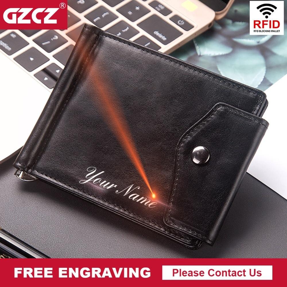 GZCZ Fashion Genuine Leather Money Clips High Quality Cow Leather Men Wallets Hasp Mini Purses Vintage Men Wallet Free Engraving
