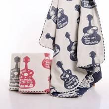 Cute Violins Patterned Soft Cotton Swaddle Blanket
