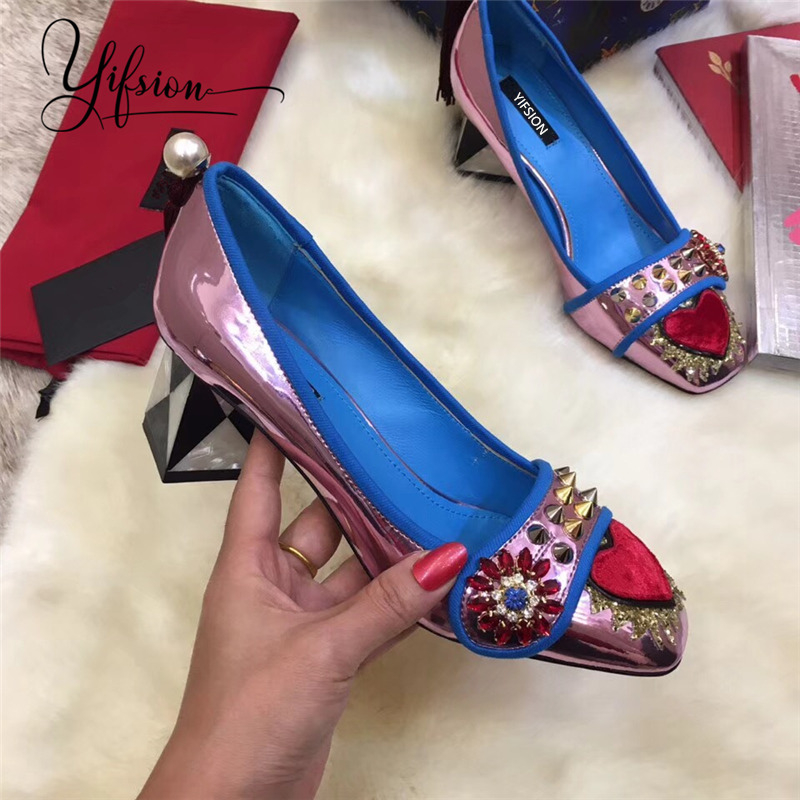 YIFSION New Fashion Spring Summer Women Pumps Square Toe Slip On Crystal Chunky High Heel Ladies Pumps Party Shoes Woman