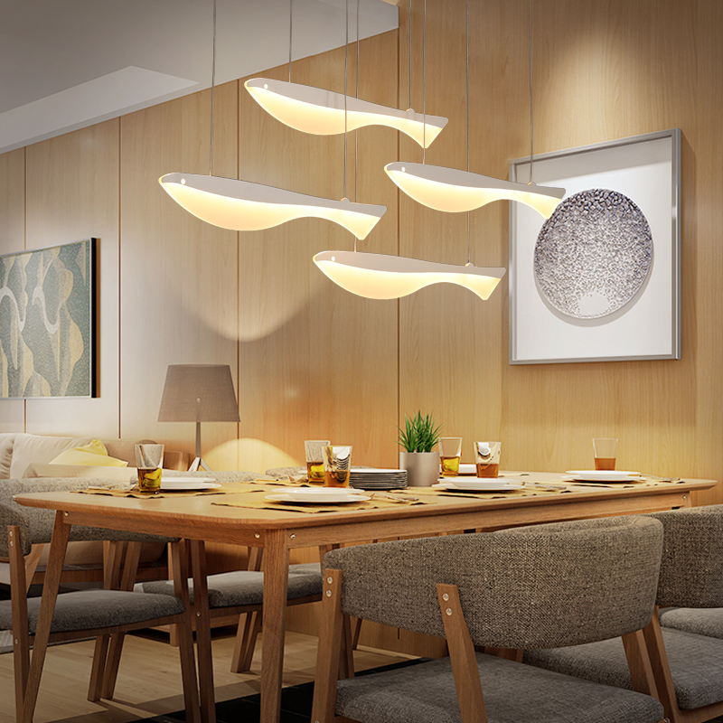 Modern led chandeliers lampada led restaurant hotel hall Lifelike fish light up happy life led strip acrylic shade pendant lamp modern led acrylic ceiling lights for parlor lampada led hotel hall led strip acrylic led strip indoor lighting luz de techo