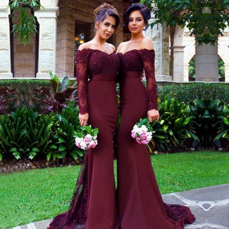 0b6db1b600 Pretty dark burgundy lace bridesmaid dresses off the shoulder long sleeve  mermaid wedding party dress vestido