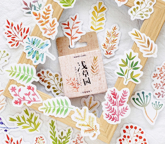 S79- Leaf  Garden Diy Decorative Stickers(1pack=46pieces)