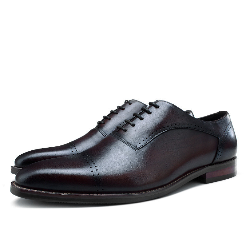 Quality Black / Coffee Social Shoes Boys Oxfords Genuine Leather Business Shoes Mens Wedding Shoes