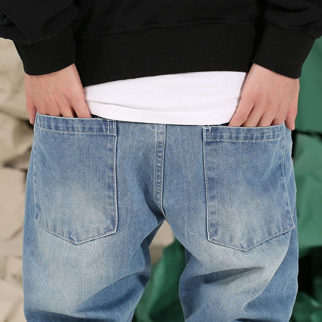 CHINISM 2018 Spring Basic Denim Jeans Mens Loose Pencil Pants Long Trousers Jeans