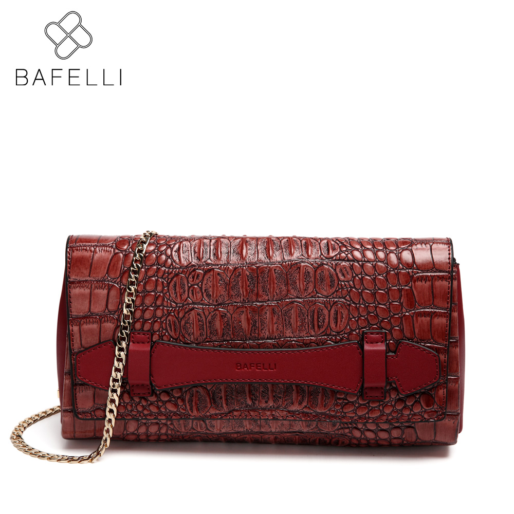 BAFELLI split leather alligator shoulder bag women luxury handbag samll crossbody flap hot sale alligator messenger bag