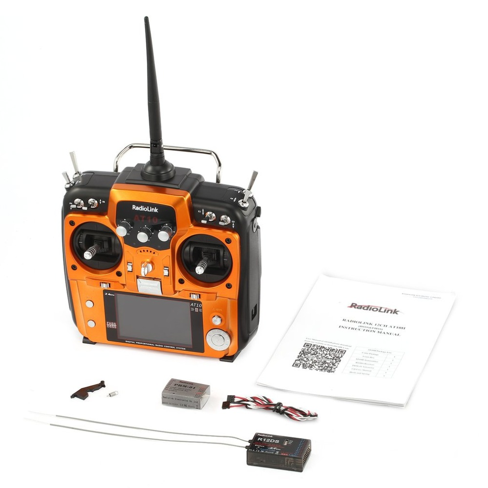 hot!RadioLink AT10 II RC Transmitter 2.4G 12CH Remote Control System with R12DS Receiver for RC Helicopter aircraft 2km distance radiolink r12ds 12ch 12 channel receiver 2 4ghz for at10 at10ii transmitter aircraft aerial photography device f04939
