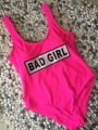 2017 Neon Pink Bad Girl Letter Print Sports One Piece Swimsuit Jersey Swimwear Monokinis Push Up Swim Suits trajes de bano women