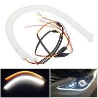 2PCS LOT Factory Price High Power 60CM White Amber LED Daylight Running Light Flexible LED Strip