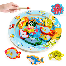Wooden Ocean Jigsaw Magnetic Puzzle Board Child Kid Educational Toy Electric Rotating Magnet Fish Rod Fishing Game DIY
