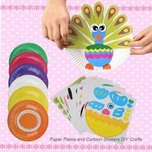 Kids Plate Painting Montessori Educational DIY Drawing Toys Colorful Crafts Cartoon Stickers Early Learning Educational Toys(China)
