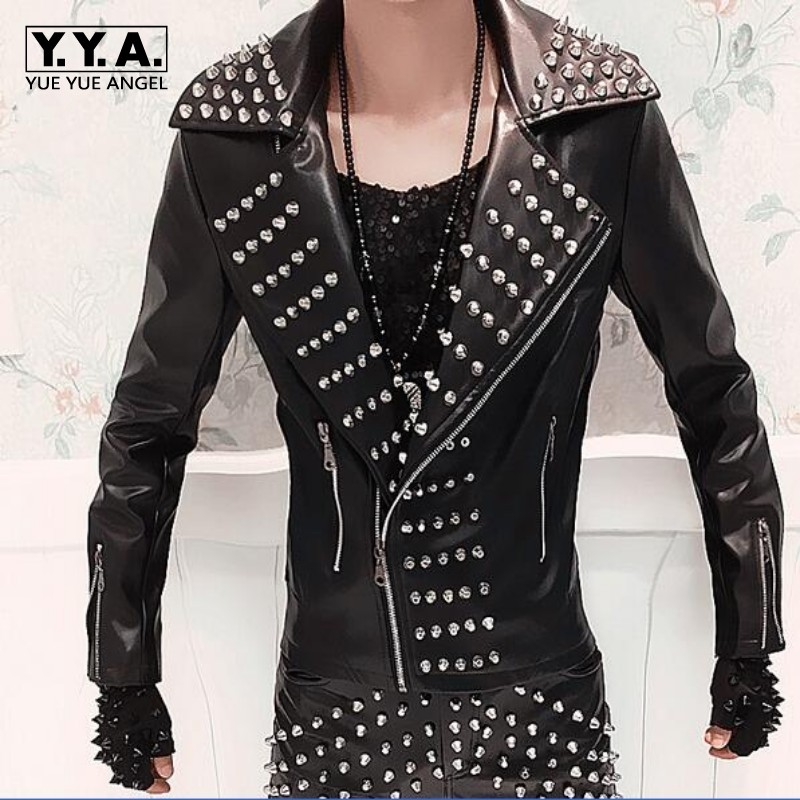 Mens leather jacket with spikes