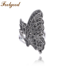 Feelgood Individuality Elegant Women Jewelry Vintage Ring Silver Color Full Rhinestone Paved Fly Butterfly Rings Lady